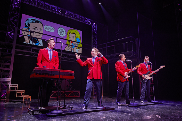 L-to-R-Declan Egan, Michael Watson, Simon Bailey, Lewis Griffiths in JERSEY BOYS. Credit Brinkhoff and Mögenburg