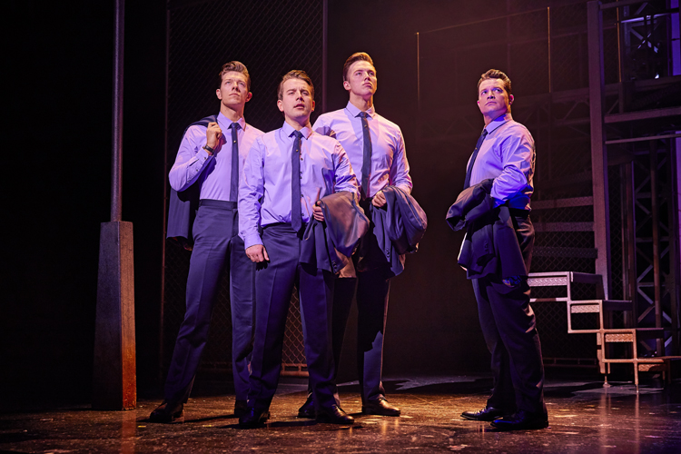 L-to-R Lewis Griffiths, Michael Watson, Declan Egan and Simon Bailey in JERSEY BOYS. Credit Brinkhoff and Mögenburg