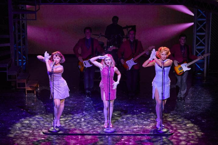 Olive Robinson, Phoebe May Newman and Tara Young in JERSEY BOYS. Credit Brinkhoff and Mögenburg
