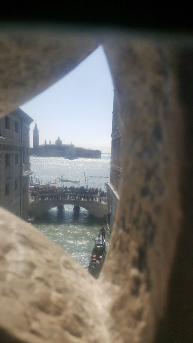 Inside Bridge of Sighs looking out