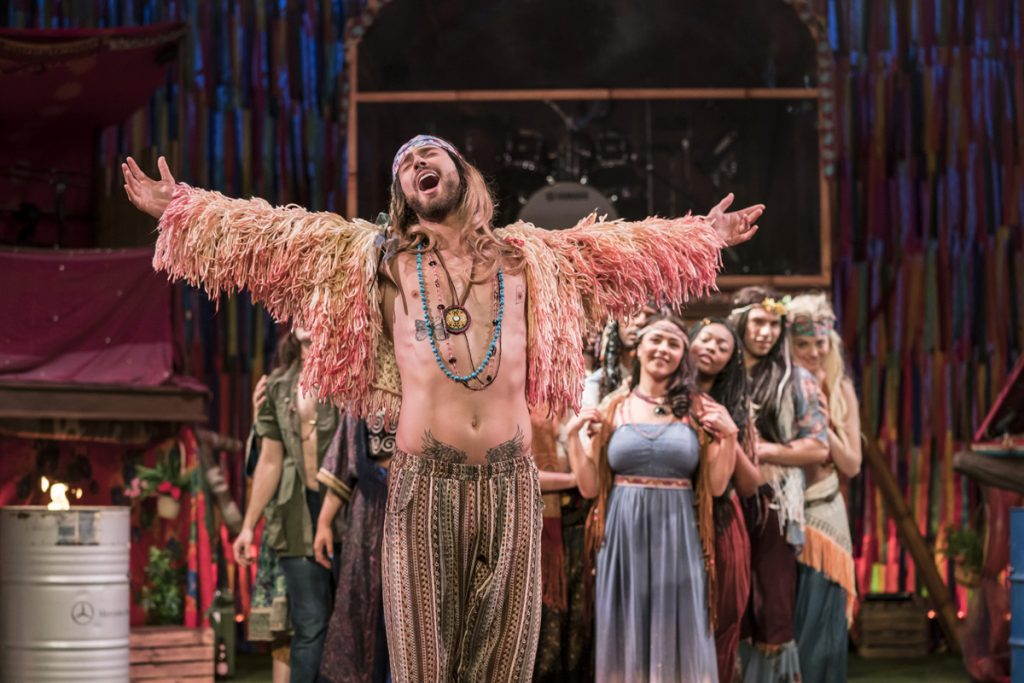 Jake Quickenden (Berger) & The Cast of Hair The Musical. Photo Johan Persson