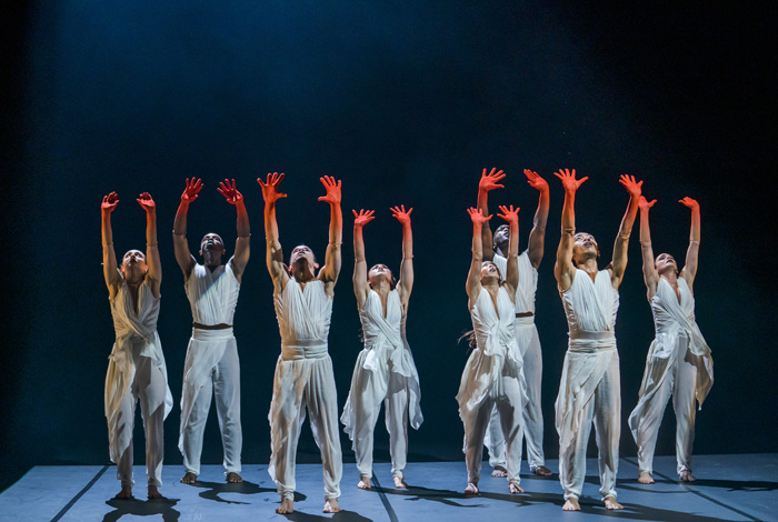 Left to right: Natalie Alleston, Aaron Chaplin, Carlos J. Martinez, Vanessa Vince-Pang, Manon Adrianow, Prentice Whitlow, Michael Marquez and Carmen Vazquez Marfil in Phoenix Dance Theatre and Opera North's The Rite of Spring choreographed by Jeanguy Saintus. Photo by Tristram Kenton.
