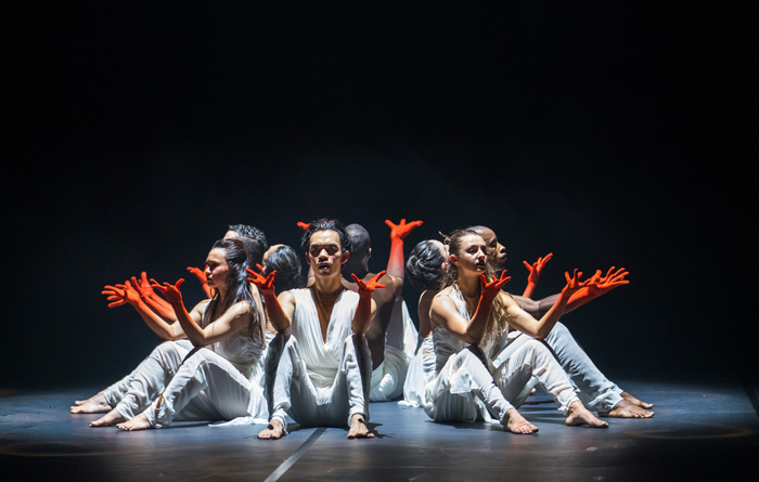 Left to right: Michael Marquez, Natalie Alleston, Aaron Chaplin, Carmen Vazquez Marfil, Prentice Whitlow, Manon Adrianow, Carlos J. Martinez and Vanessa Vince-Pang in Phoenix Dance Theatre and Opera North's The Rite of Spring choreographed by Jeanguy Saintus. Photo by Tristram Kenton.