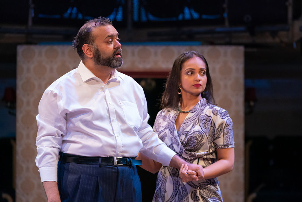HOBSON'S CHOICE - L-R Tony Jayawardena (Hari Hobson) & Shalini Peiris (Durga Hobson) - image Marc Brenner