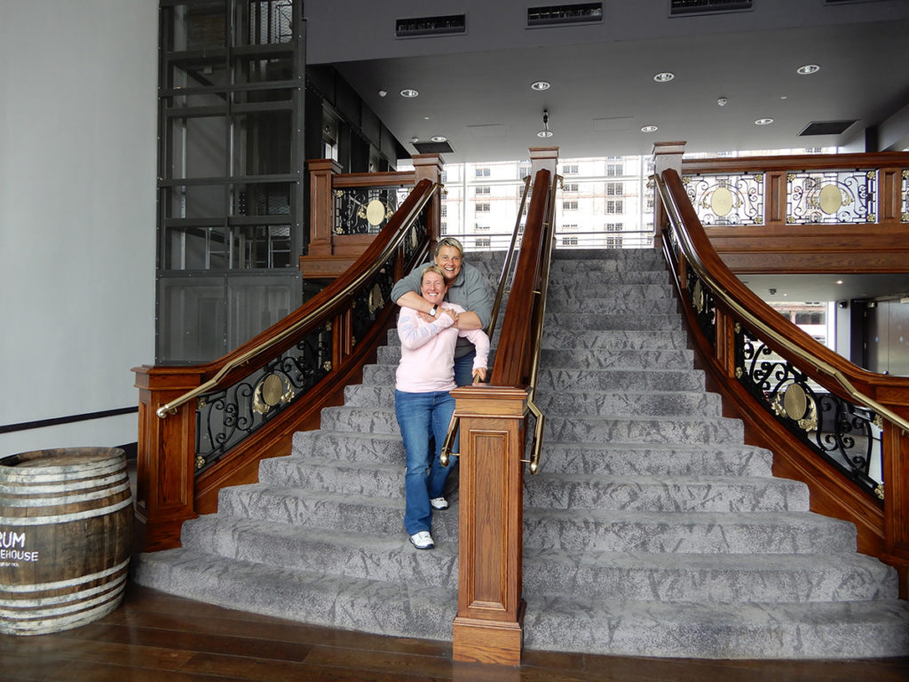 Liz and Georgia on the Titanic staircase