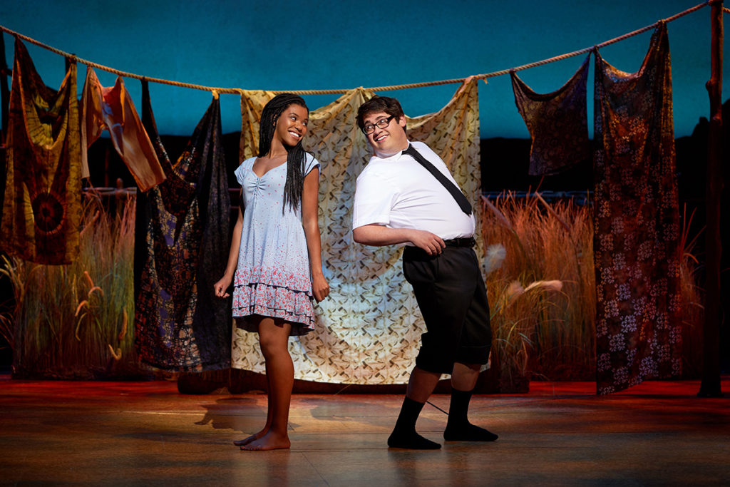 Nicole Lily Baisden and Conner Peirson in The Book of Mormon. Credit: Paul Coltas.