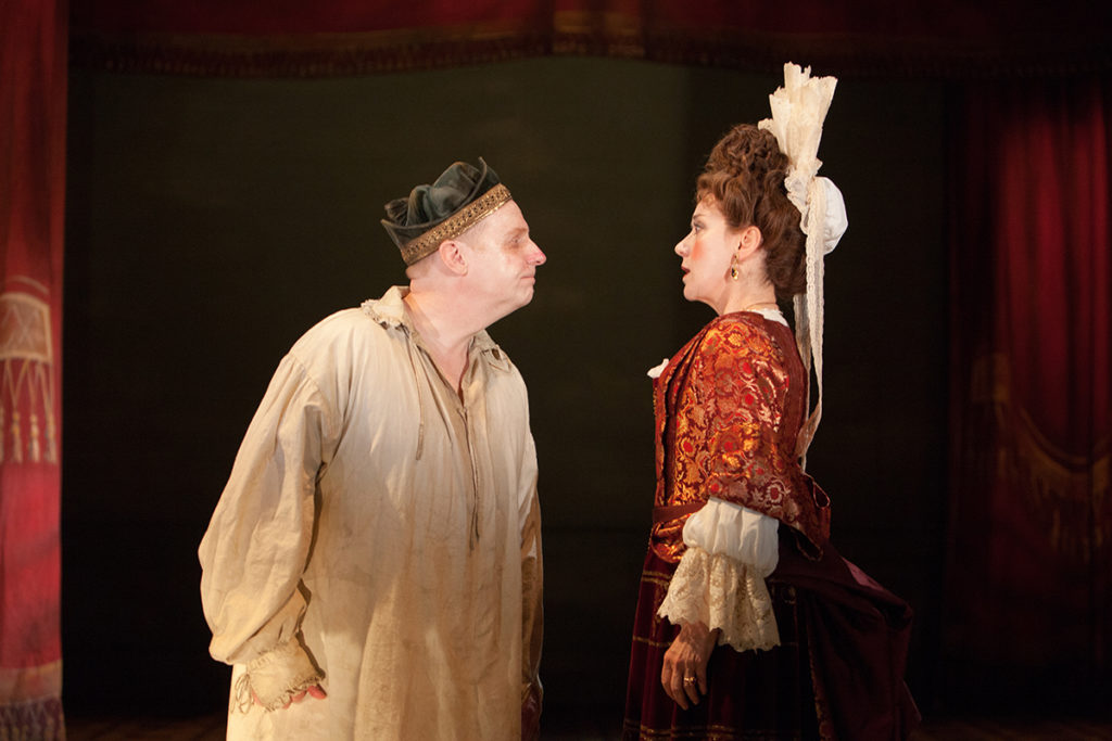 Jonathan Slinger and Alexandra Gilbreath in The Provoked Wife at Swan Theatre, Stratford. Photo by Pete Le May (c) RSC.