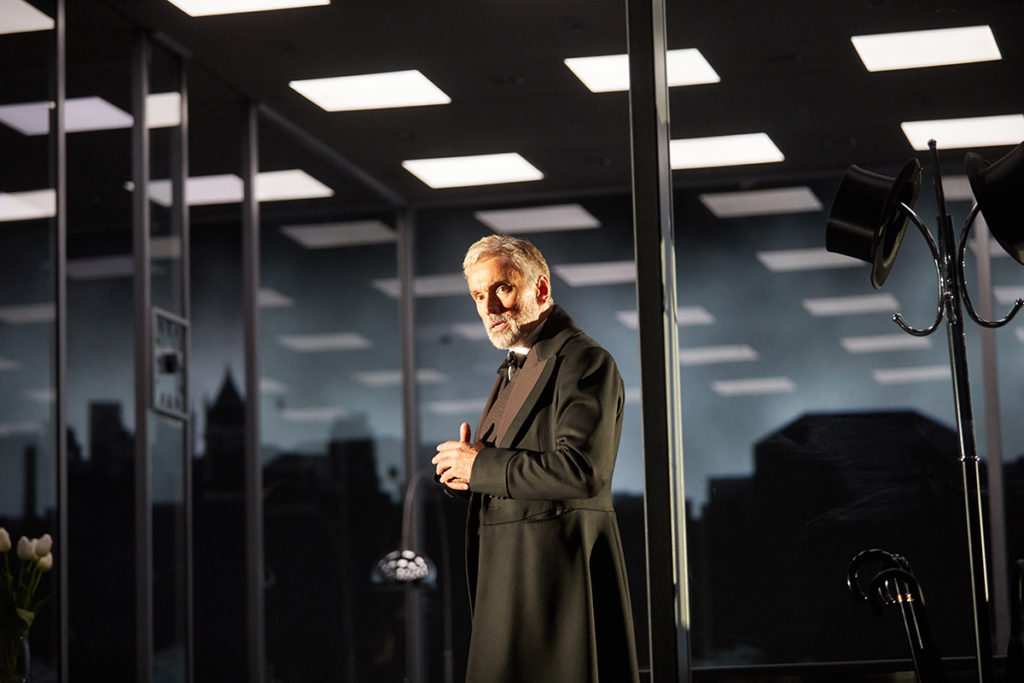 Ben Miles in The Lehman Trilogy at the National Theatre .  Photo by Mark Douet