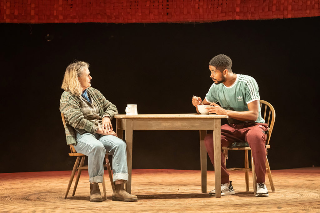 Sinead Cusack and Alfred Enoch in Tree at Manchester International Festival. Credit: Marc Brenner