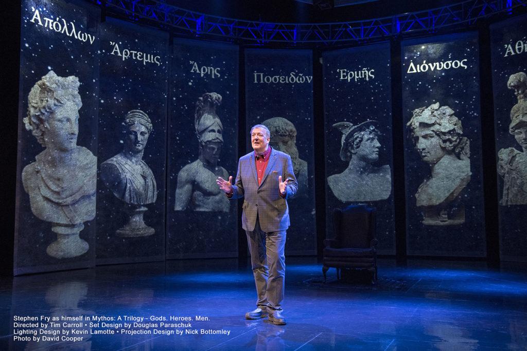 Mythos: A Trilogy - Gods. Heroes. Men. Stephen Fry as himself in Mythos: A Trilogy - Gods. Heroes. Men. Photo by David Cooper.