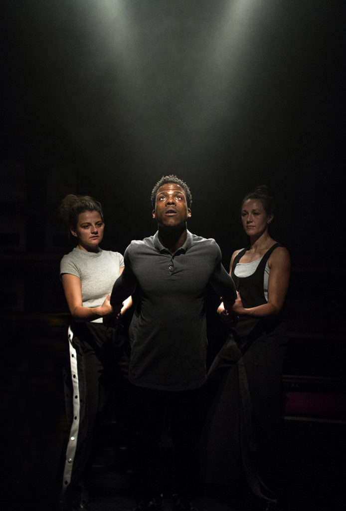 Roundabout Broughton. On The Other Hand, We're Happy - L-R Charlotte O'Leary, Toyin Omari-Kinch and Charlotte Bate. Photo by Rebecca Need-Menear