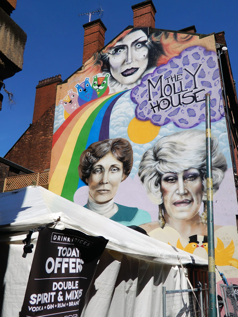 Manchester icons Emmeline Pankhurst and Frank Foo Foo Lammar painted on The Molly House