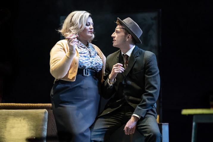 Jodie Prenger (Helen) and Tom Varey (Peter) in A Taste of Honey. Credit Marc Brenner