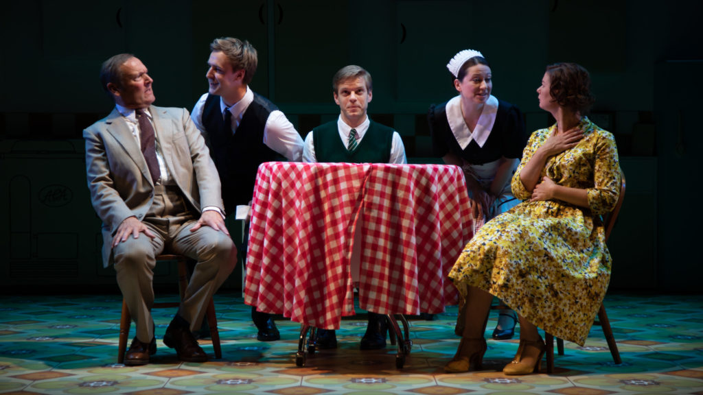 (L-R) Blair Plant, Stefan Edwards, Giles Cooper, Samantha Hopkins, Katy Federman in Toast - photo credit Piers Foley