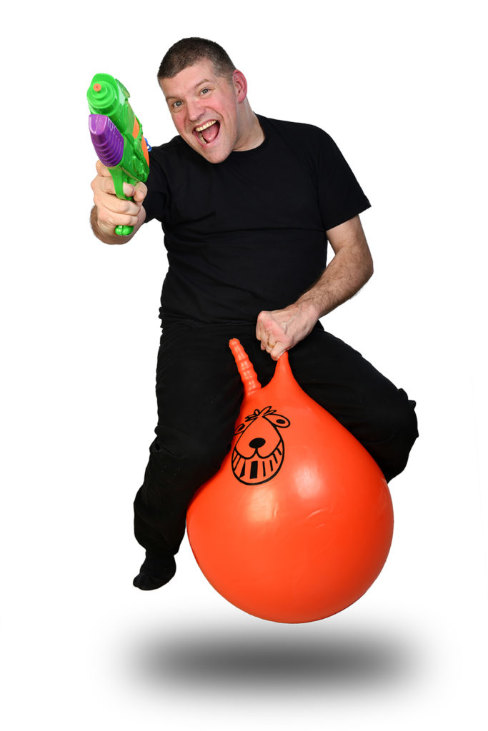 Laurence Clark on a space hopper