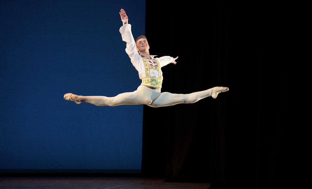 Rhys Antoni Yeomans performing the pas de deux from Coppélia for Emerging Dancer 2019 © Laurent Liotardo.