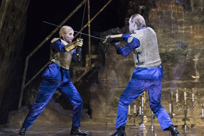 Opera North's production of Handel's Giulio Cesare Lucie Chartin as Cleopatra and James Laing as Tolomeo Conductor Christian Curnyn, Director Tim Albery, Set and Costume Designer Leslie Travers, Lighting Designer Thomas C. Hase, Fight Director Tom Fermor Photo credit: Alastair Muir