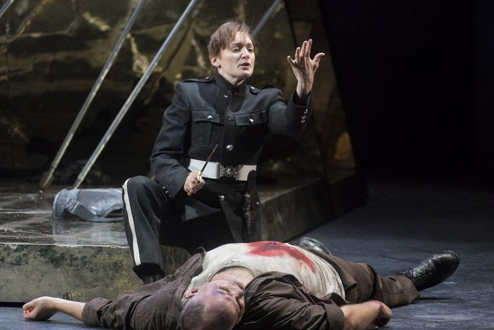 Opera North's production of Handel's Giulio Cesare Heather Lowe as Sesto and Darren Jeffery as Achilla Conductor Christian Curnyn, Director Tim Albery, Set and Costume Designer Leslie Travers, Lighting Designer Thomas C. Hase, Fight Director Tom Fermor Photo credit: Alastair Muir