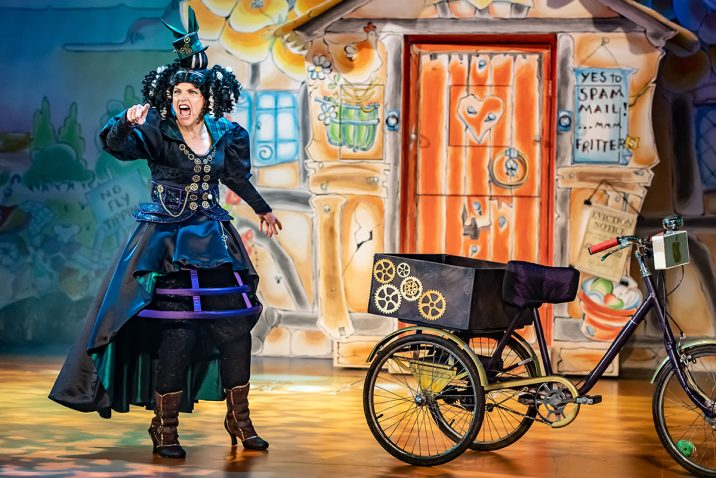 Jenny Platt as Mavis Moorside in Jack and the Beanstalk pantomime at Oldham Coliseum. Credit Darren Robinson