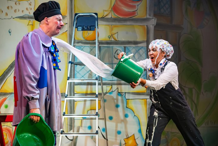 Patrick Bridman as Lord Thickpenny Grabbmuch and Sophie Mercell as Grotton in Jack and the Beanstalk pantomime at Oldham Coliseum. Credit Darren Robinson