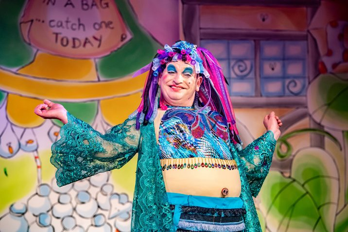 Richard J Fletcher as Dame Dotty Trott in Jack and the Beanstalk pantomime at Oldham Coliseum. Credit Darren Robinson