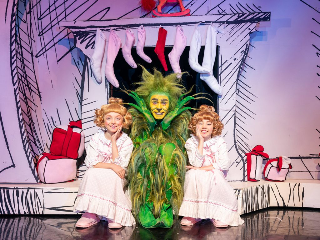 L-R Bebe Massey, Edward Baker-Duly & Eve Corbishley 2019 Cast of Dr Seuss' How The Grinch Stole Christmas! The Musical.