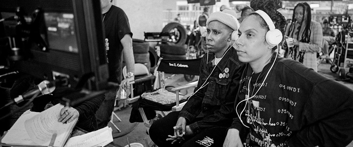 "(from left) Screenwriter Lena Waithe and director Melina Matsoukas on the set of ""Queen & Slim."""