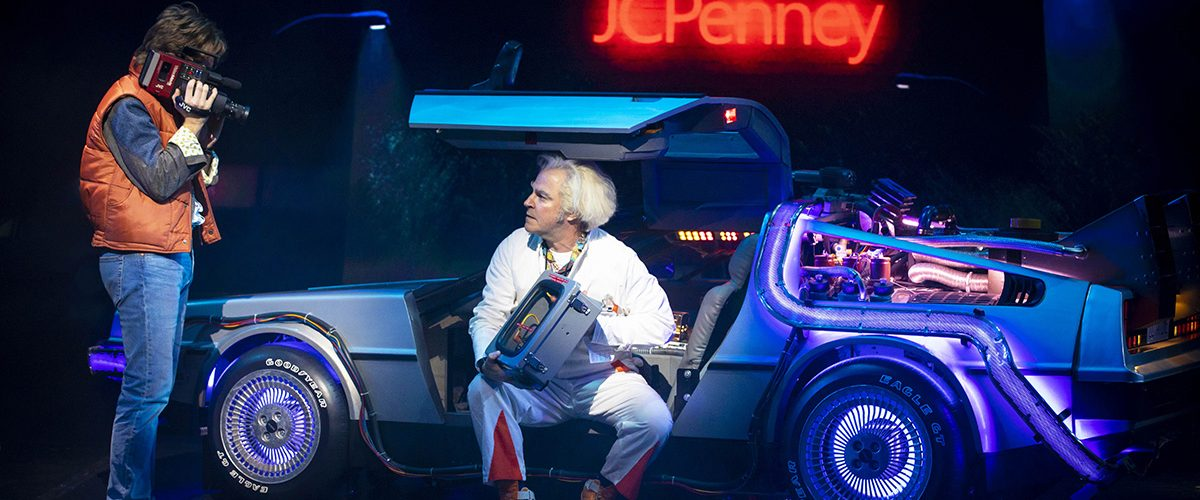 LtoR Olly Dobson as Marty McFly and Roger Bart as Doc Brown in Back to the Future, credit Sean Ebsworth Barnes