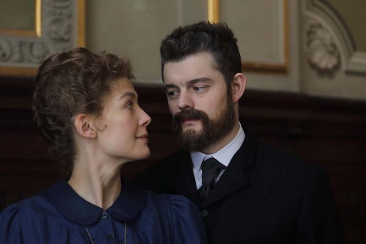 Rosamund Pike as Marie Curie and Sam Riley as Pierre Curie in Radioactive, directed by Marjane Satrapi. Photo: Laurie Sparham.