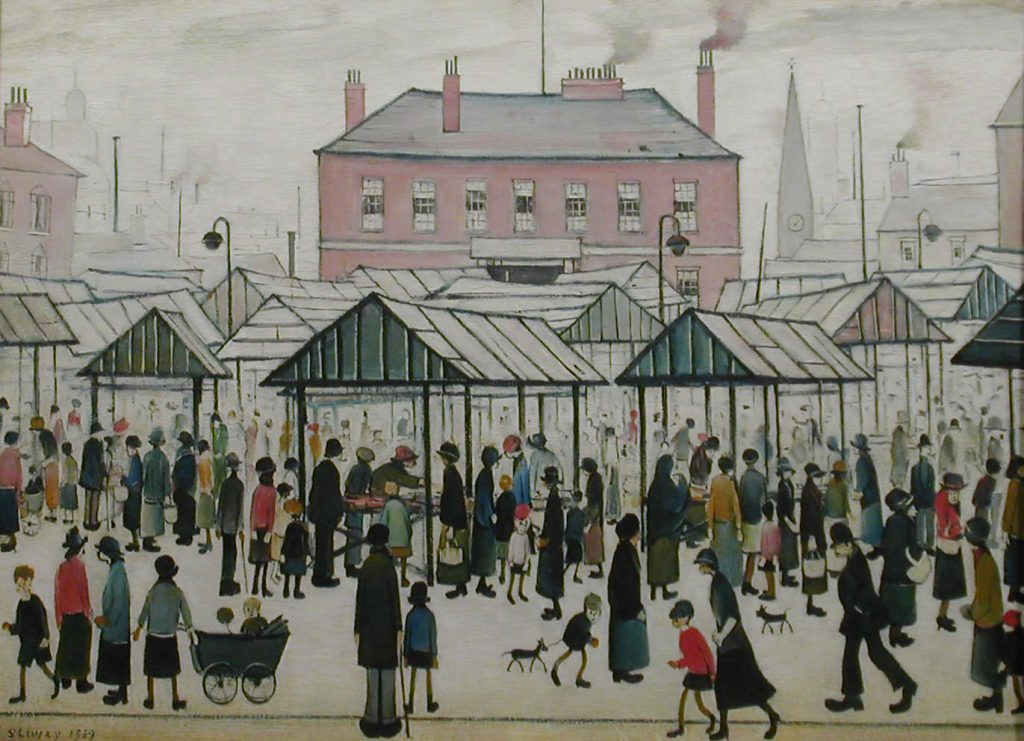 L.S. Lowry, Market Scene, Northern Town 1939 © The Lowry Collection, Salford