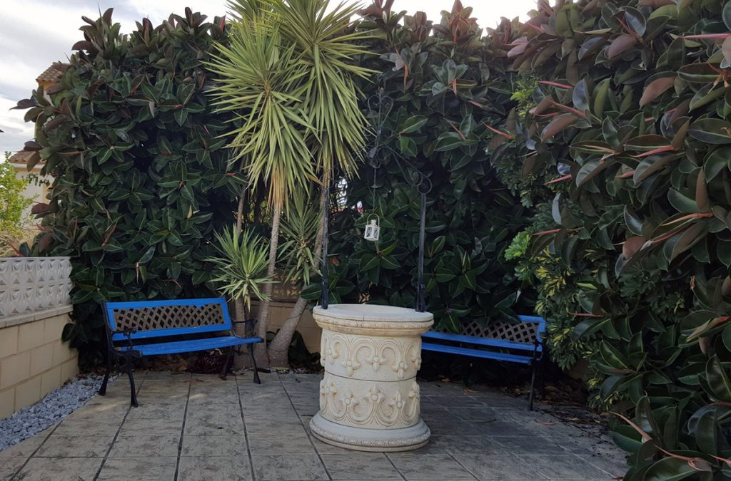 One of the patios at Lorraine's Spanish home