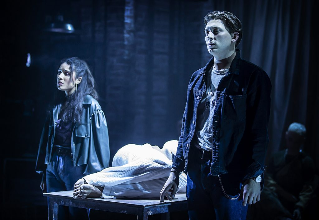 Tom Francis (Roger) and Maiya Quansah-Breed (Mimi) in RENT at Hope Mill Theatre. Photographer Pamela Raith