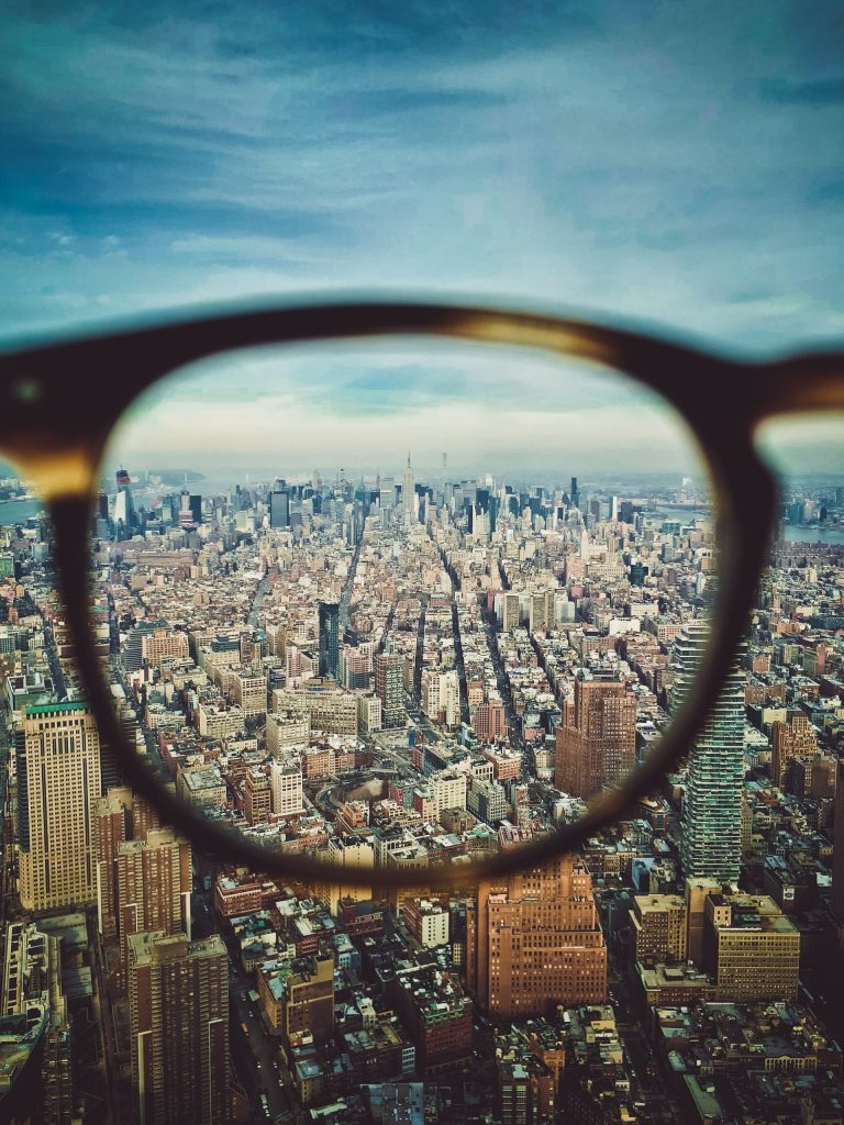 Glasses on city scape