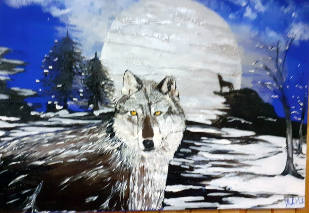 Painting in the Sanctary - wolf howling at the moon