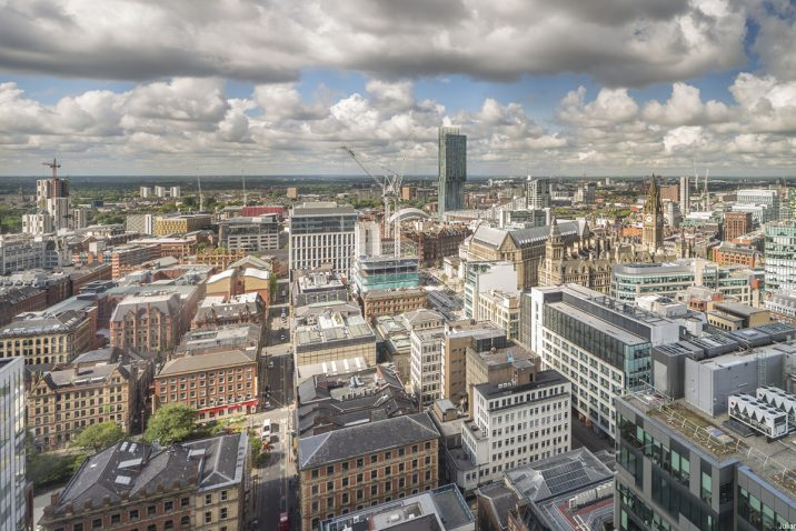 View over central Manchester rooftops.