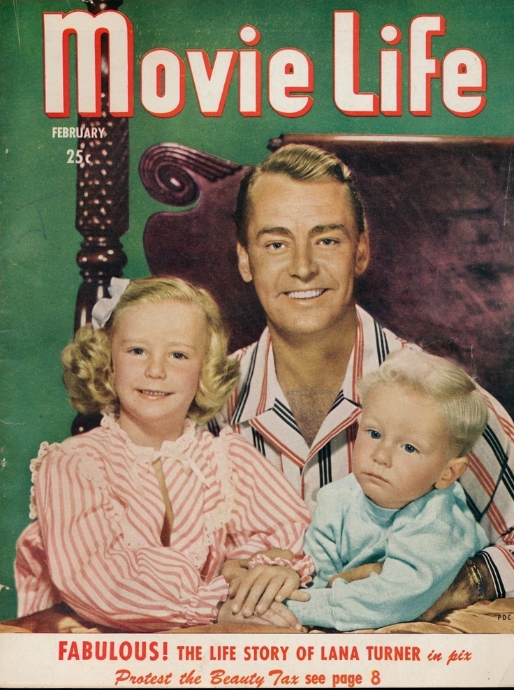Magazine cover of actor Alan Ladd with his new family