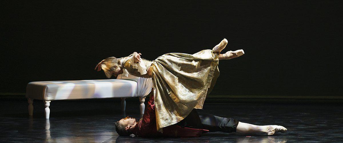 Antoinette Brooks-Daw as Madame de Tourvel and Joseph Taylor as Valmont in Dangerous Liaisons. Photo Emma Kauldhar