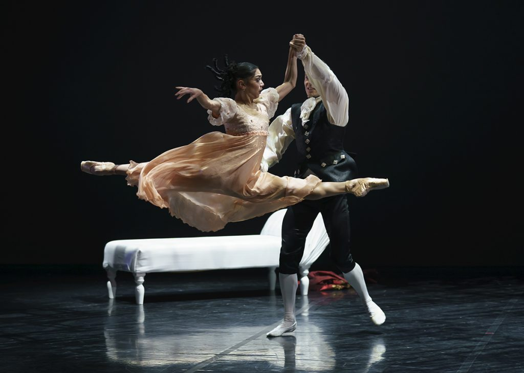 Rachael Gillespie as Cecile and Joseph Taylor as Valmont in Dangerous Liaisons. Photo Emma Kauldhar